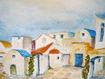 griechisches Dorf, Aquarell, ca. DIN A 4, Barbara Rank, 150 Euro