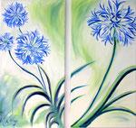 Liebeslilien, Öl auf Leinwand, 2 x 45/90 cm, Vivian Wieling, 380 Euro