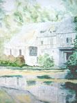 Haus am Wasser, Aquarell, ca. DIN A 4, Barbara Rank, 150 Euro