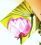 Lotus, Öl auf Leinwand, 50/50 cm, Barbara Rank, 270 Euro