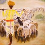 Schafherde, Öl auf Leinwand, 2 x 70/70, Barbara Rank, 550 Euro