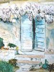 Italienische Tür, Aquarell, ca. DIN A 4, Barbara Rank, 150 Euro