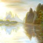Berge im Wasser, Öl auf Leinwand, 95/95 cm, Vivian Wieling, 390 Euro