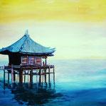 Chinesisches Haus, Öl auf Leinwand, 1 x 60/60, Barbara Rank, 350 Euro
