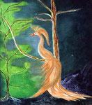 Feuervogel, Malplatte 70 x 80 cm