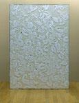 「genetic trans 07-1 」2007/方解末、樹脂膠、ジェッソ、アクリル板、雲肌麻紙、典具帖紙、墨/194×135cm/所蔵:佐久市近代美術館