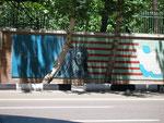 le mur de l'ambassade US à Téhéran (actuellement siège des pasdarans, la police politique)