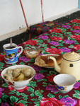 des mantis (raviolis très parfumés) et du thé