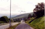 la piste cyclable le long de la E6 à l'entrée de Narvik