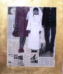 Marta Bettega, Why do you look at me, acrilico,collage e foglia oro su multistrato, 80 x 95 cm, 2007.