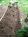 Die Stromzuleitung und wieder graben - digging for power line