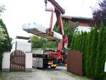 Endlich Wochen später, die Gartenhütte wird geliefert - weeks later, the garden shad delivered
