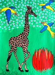 Africa_Tinga-Tinga Giraffe I © Pepponi Art