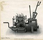Austro Daimler Feldbahn 2 Zylinder Benzinmotor 3,5PS, wurde auf Feldbahnfahrgestelle zur Verwendung als Zugtriebwagen montiert. Gebaut ab 1916