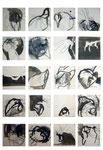 drowning by numbers I-XX , 2003, grafit und tusche auf papier, je 15x15cm