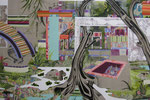 楽しいことからはじめよう 2012 162.0×130.3㎝ キャンバスに油彩、ボールペン、パステル (C)Rina Mizuno