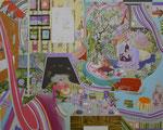 入り組む部屋 2014 227.3×181.8㎝ キャンバスに油彩、ボールペン (C)Rina Mizuno