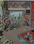 バビロンの空中庭園 2011 194.0×130.3㎝ キャンバスに油彩、ボールペン、鉛筆 (C)Rina Mizuno