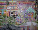 庭にはびこる 2013 227.3×181.8㎝ キャンバスに油彩、ボールペン (C)Rina Mizuno