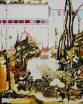 バビロンの風景 2011 194.0×130.3㎝ キャンバスに油彩、ボールペン、鉛筆 (C)Rina Mizuno