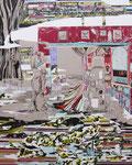 これがかきたかった。 2012 227.3×181.8㎝ キャンバスに油彩、ボールペン (C)Rina Mizuno