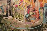 シュヴァル・浮世 2013 194.0×130.3㎝ キャンバスに油彩、ボールペン、鉛筆 (C)Rina Mizuno