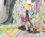 滝 2013 80.3×65.2㎝ キャンバスに油彩、ボールペン (C)Rina Mizuno