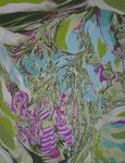 葉に埋うまる 2014 41.0×31.8㎝ キャンバスに油彩 (C)Rina Mizuno