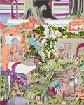 庭の舞台 2012 100.0×80.3㎝ キャンバスに油彩、ボールペン (C)Rina Mizuno