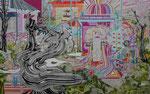 みてもみきれない。 2014 363.6×227.3㎝ キャンバスに油彩、ボールペン (C)Rina Mizuno