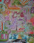 お重園 2014 100.0×80.3㎝ キャンバスに油彩、ボールペン  (C)Rina Mizuno