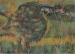 Wunschbaum - Pastell 36 x 26 (außen 54 x 44) = € 120 incl. Rahmen