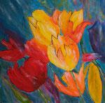 Wilde Tulpen - Acryl 60 x 60 = € 130