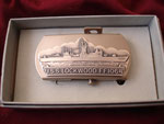 USS LOCKWOOD FF-1064 VANGUARD BELT BUCKLE CIRCLE 1980's
