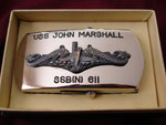 "USS JOHN MARSHALL SSB(N)-611 ""JAPAN"" BELT BUCKLE CIRCA 1960's"