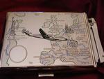 LOCKHEED SUPER G CONSTELLATION UNITED STATES TO EUROPE #2 FBELO MONOPOL LIGHTER CIGARETTE CASE CIRCA 1950's