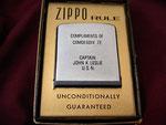 COMPLIMENTS OF COMDESDIV 72 CAPTAIN JOHN K. LESLIE U.S.N.