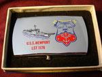 USS NEWPORT LST-1179 ZIPPO BELT BUCKLE VIETNAM ERA CIRCA 1970s