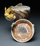 Brown Bullhead Mug with Snapping Turtle Saucer by Catherine Stasevich