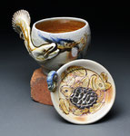 American Eel Mug with Snapping Turtle Saucer by Catherine Stasevich