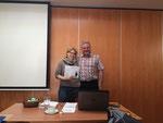 Susanne Ruff (die glückliche Gewinnerin des Decksprunges von Nattfari) und Agust.