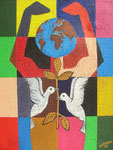Peace in the World, 2006, Acrylic Painting on Jute ( 90 x 70 cm )