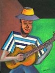 Guitarist, 2006, Acrylic Painting on Jute ( 80 x 60 cm )