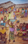 African Market, 2003, Watercolour on Paper ( 100 x 70 cm )