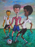 Soccer Players, 2005, Acrylic Painting on Jute ( 80 x 60 cm )