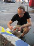 mitarbeit an der malerei von peter smolka bei der gestaltung am augustinplatz im rahmen der Festwochen •  juli 2011