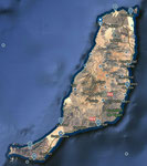 Fuerteventura. Links oben La Cotillo, mein Domizil.