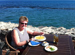 Gazpacho essen in der Chiringuito La Isla