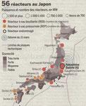 Carte des réacteurs nucléaires au Japon