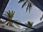 Aussicht aus unserer ganztags/nachts geöffneten Dachluke
